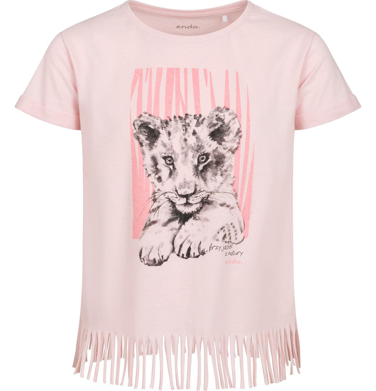 Endo - T-shirt z krótkim rękawem dla dziewczynki, z frędzlami na dole, z małym lwem, różowy, 9-13 lat D05G112_1