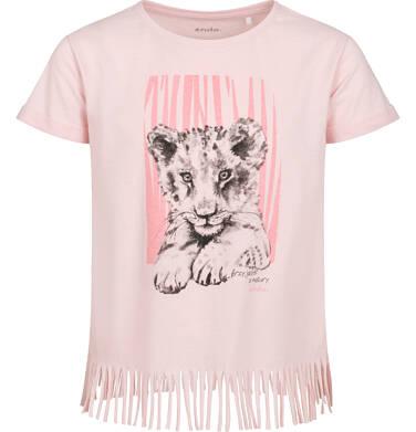 T-shirt z krótkim rękawem dla dziewczynki, z frędzlami na dole, z małym lwem, różowy, 9-13 lat D05G112_1