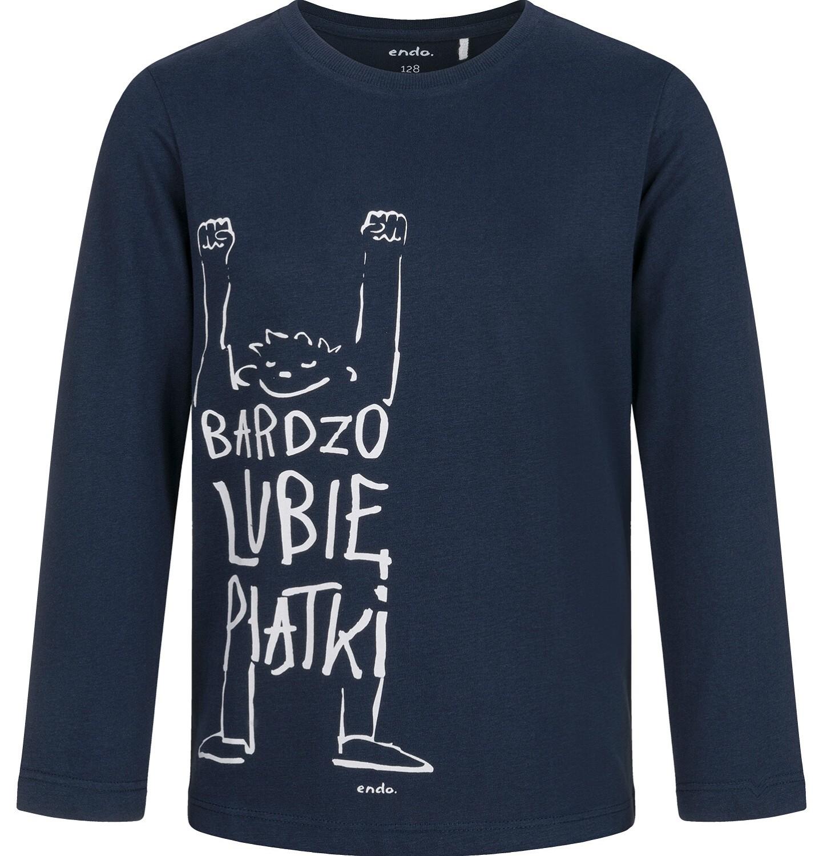 Endo - T-shirt z długim rękawem dla chłopca, lubię piątki, granatowy, 9-13 lat C03G687_1