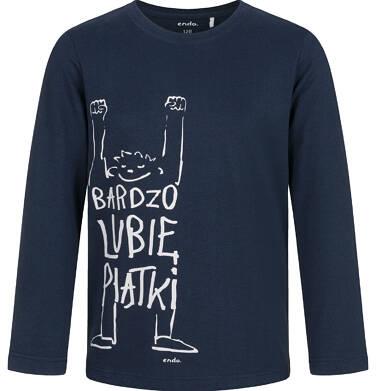 Endo - T-shirt z długim rękawem dla chłopca, lubię piątki, granatowy, 9-13 lat C03G687_1 31