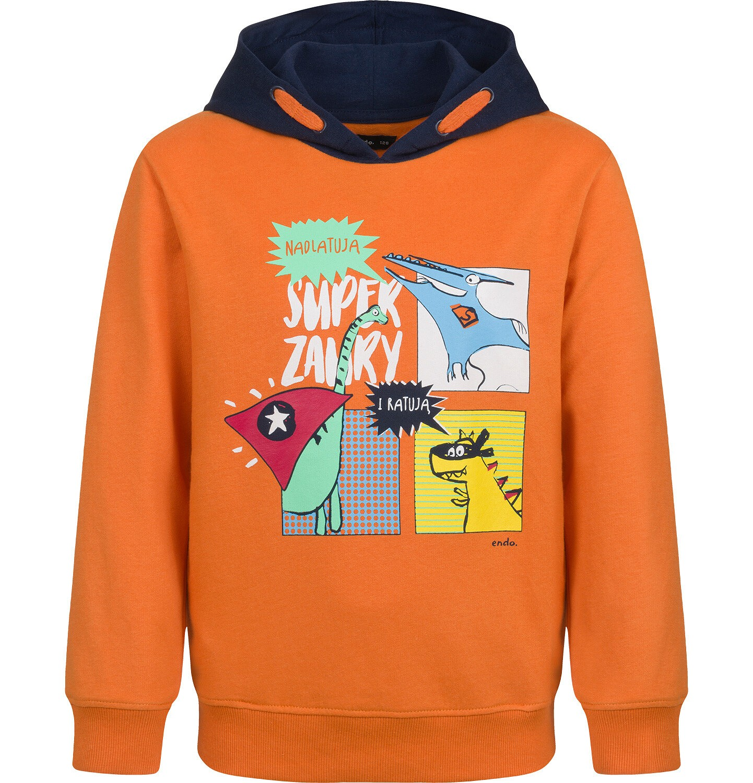 Endo - Bluza dla chłopca, z kontrastowym kapturem, pomarańczowa, 2-8 lat C04C064_1
