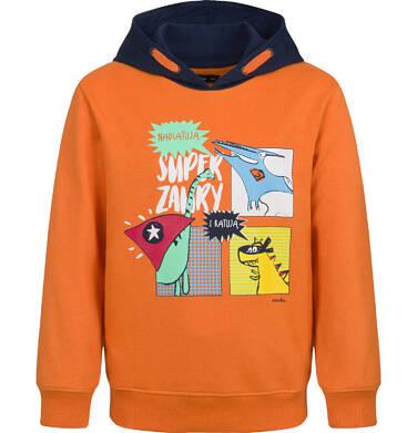 Bluza dla chłopca, z kontrastowym kapturem, pomarańczowa, 2-8 lat C04C064_1