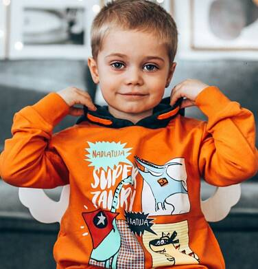 Endo - Bluza dla chłopca, z kontrastowym kapturem, pomarańczowa, 2-8 lat C04C064_1 15