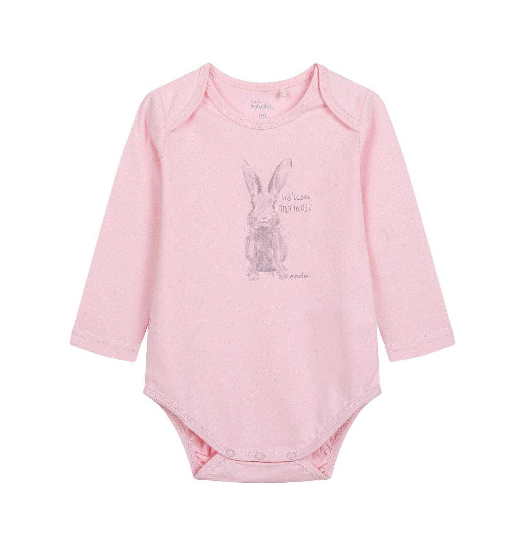 Endo - Body z długim rękawem dla dziecka do 2 lat, różowe N04M003_1