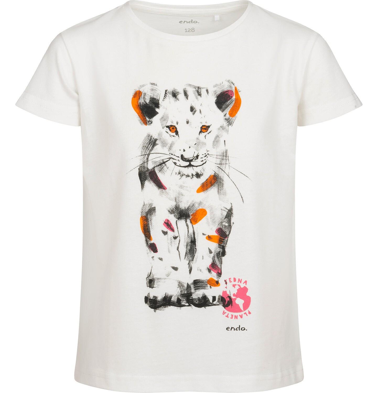 Endo - T-shirt z krótkim rękawem dla dziewczynki, z małym lwem, kremowy, 2-8 lat D05G115_2