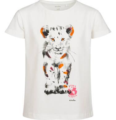 Endo - T-shirt z krótkim rękawem dla dziewczynki, z małym lwem, kremowy, 2-8 lat D05G115_2 15