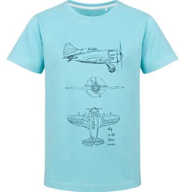 Endo - T-shirt z krótkim rękawem dla chłopca, z samolotem, niebieski, 9-13 lat C03G728_1