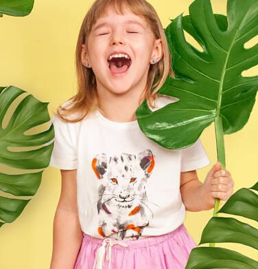 Endo - T-shirt z krótkim rękawem dla dziewczynki, z małym lwem, jasnoszary, 9-13 lat D05G116_2,2