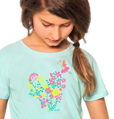 Endo - Bluzka z krótkim rękawem dla dziewczynki, z kwiatowym motywem, niebieski, 2-8 lat D03G084_1 32