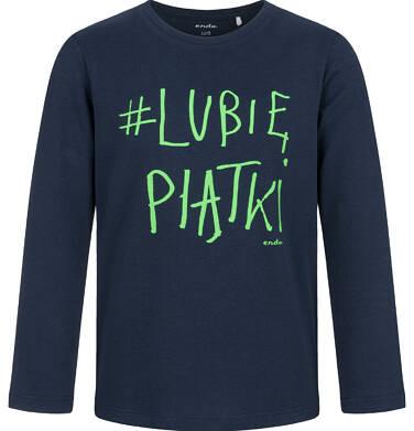 T-shirt z długim rękawem dla chłopca, lubię piątki, granatowy, 9-13 lat C03G688_2