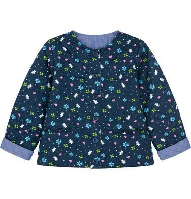 Dwustronna kurtka dla małego dziecka, pikowana, kwiatowy deseń N91A013_1