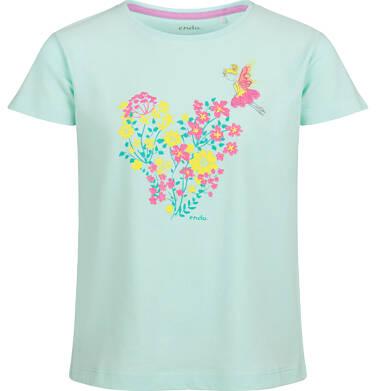 Endo - Bluzka z krótkim rękawem dla dziewczynki, z kwiatowym motywem, niebieski, 9-13 lat D03G584_1 36