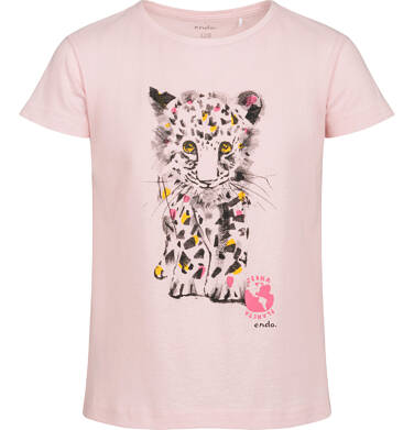 Endo - T-shirt z krótkim rękawem dla dziewczynki, z małym lampartem, różowy, 2-8 lat D05G119_2 23
