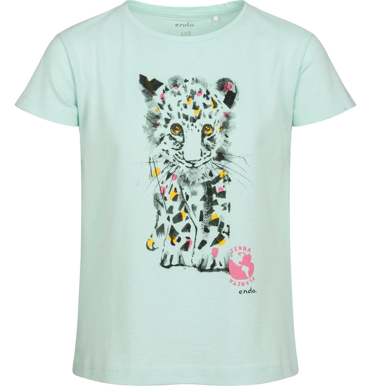 Endo - T-shirt z krótkim rękawem dla dziewczynki, z małym lampartem, zielony, 9-13 lat D05G120_1