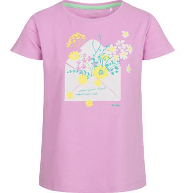 Endo - Bluzka z krótkim rękawem dla dziewczynki, w kwiaty, różowa, 9-13 lat D03G585_1 132