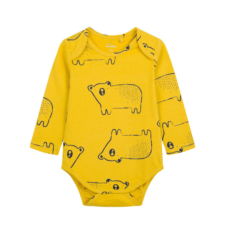 Endo - Body z długim rękawem dla dziecka do 2 lat, żółte N04M018_2