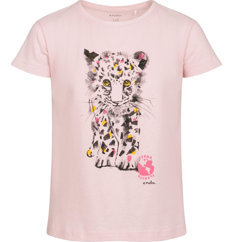 Endo - T-shirt z krótkim rękawem dla dziewczynki, z małym lampartem, różowy, 9-13 lat D05G120_2