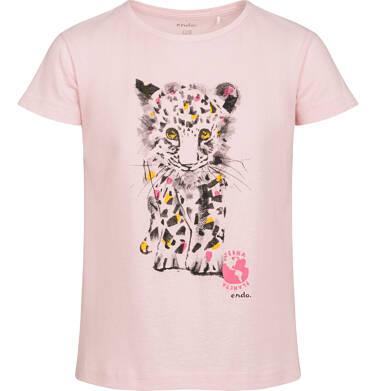 T-shirt z krótkim rękawem dla dziewczynki, z małym lampartem, różowy, 9-13 lat D05G120_2