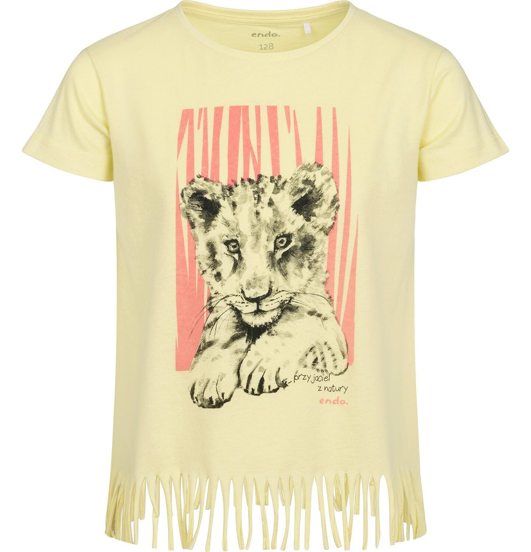 Endo - T-shirt z krótkim rękawem dla dziewczynki, z frędzlami na dole, z małym lwem, żółty, 2-8 lat D05G121_1