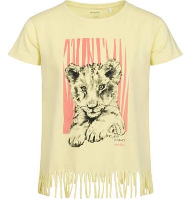T-shirt z krótkim rękawem dla dziewczynki, z frędzlami na dole, z małym lwem, żółty, 2-8 lat D05G121_1