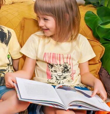 Endo - T-shirt z krótkim rękawem dla dziewczynki, z frędzlami na dole, z małym lwem, żółty, 2-8 lat D05G121_1 8