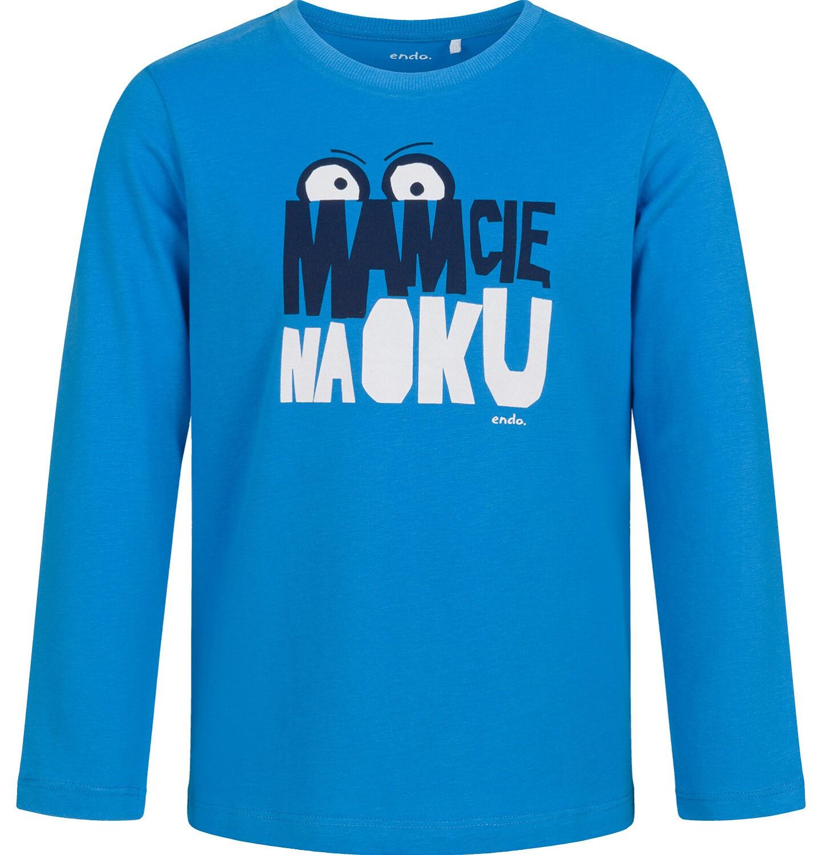 Endo - T-shirt z długim rękawem dla chłopca, mam Cię na oku, niebieski, 9-13 lat C03G693_1