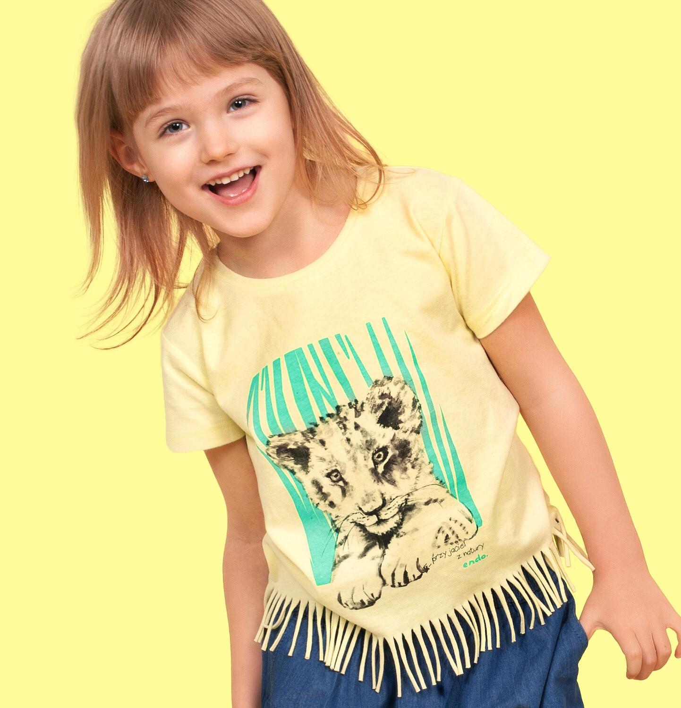 Endo - T-shirt z krótkim rękawem dla dziewczynki, z frędzlami na dole, z małym lwem, żółty, 9-13 lat D05G122_1
