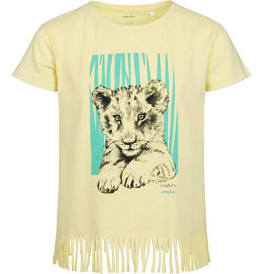 Endo - T-shirt z krótkim rękawem dla dziewczynki, z frędzlami na dole, z małym lwem, żółty, 9-13 lat D05G122_1 49