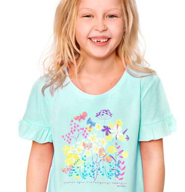 Endo - Bluzka z krótkim rękawem dla dziewczynki, w kwiaty, niebieska, 2-8 lat D03G090_1