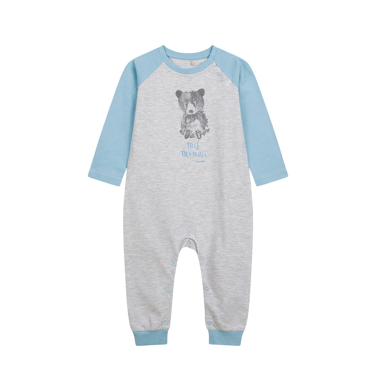 Endo - Pajac dla dziecka do 2 lat, z misiem, niebiesko - szary N04N004_1
