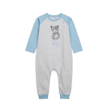 Endo - Pajac dla dziecka do 2 lat, z misiem, niebiesko - szary N04N004_1,1