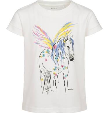 T-shirt z krótkim rękawem dla dziewczynki, z pegazem, biały, 2-8 lat D05G155_1