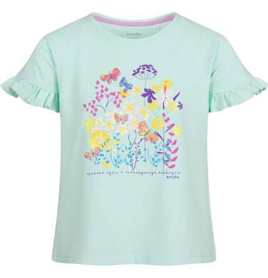 Bluzka z krótkim rękawem dla dziewczynki, w kwiaty, niebieska, 9-13 lat D03G590_1