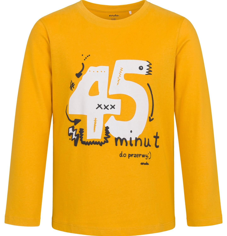 Endo - T-shirt z długim rękawem dla chłopca, ze szkolnym motywem, musztardowy, 9-13 lat C03G694_2