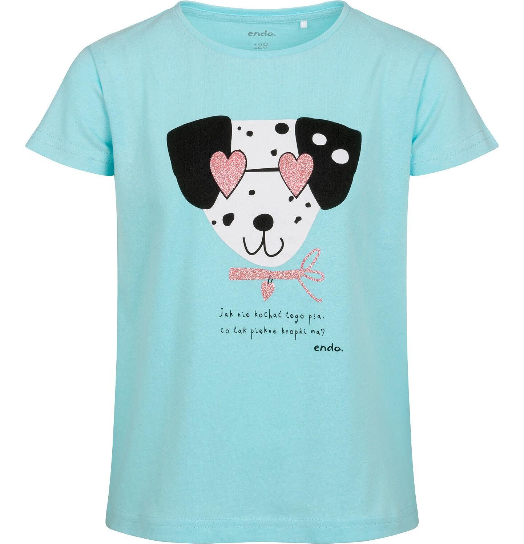 Endo - T-shirt z krótkim rękawem dla dziewczynki, z dalmatyńczykiem w okularach, niebieski, 2-8 lat D05G167_1