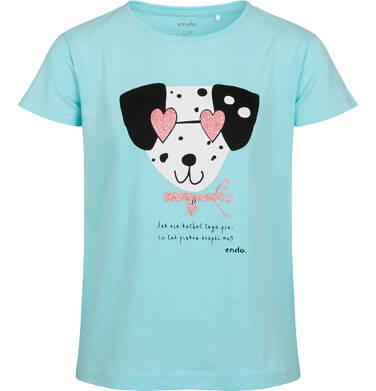 T-shirt z krótkim rękawem dla dziewczynki, z dalmatyńczykiem w okularach, niebieski, 2-8 lat D05G167_1