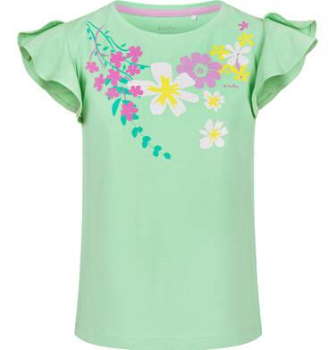 Endo - Bluzka z krótkim rękawem dla dziewczynki, w kwiaty, zielona, 2-8 lat D03G091_1