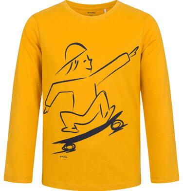 Endo - T-shirt z długim rękawem dla chłopca, z deskorolką, musztardowy, 9-13 lat C03G695_1 13