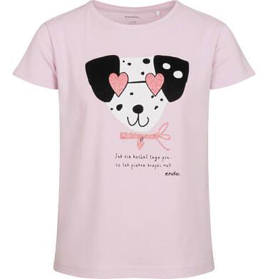 T-shirt z krótkim rękawem dla dziewczynki, z dalmatyńczykiem w okularach, różowy, 2-8 lat D05G167_2