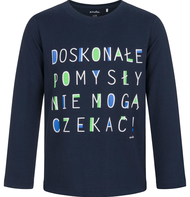 Endo - T-shirt z długim rękawem dla chłopca, granatowy, 9-13 lat C03G696_1