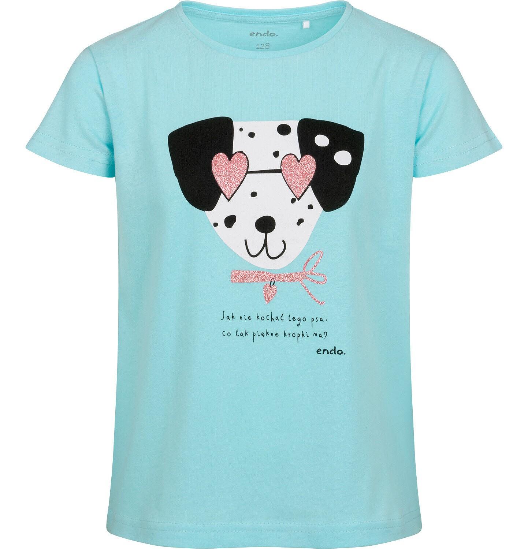Endo - T-shirt z krótkim rękawem dla dziewczynki, z dalmatyńczykiem w okularach, niebieski, 9-13 lat D05G178_1