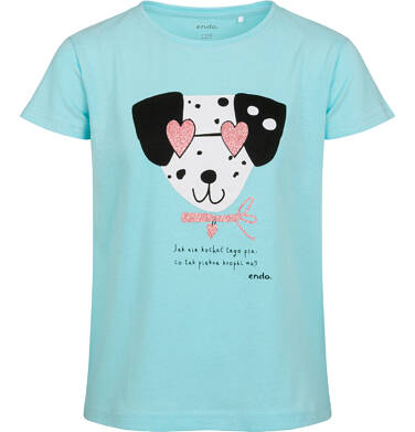 T-shirt z krótkim rękawem dla dziewczynki, z dalmatyńczykiem w okularach, niebieski, 9-13 lat D05G178_1