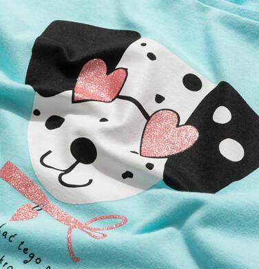 Endo - T-shirt z krótkim rękawem dla dziewczynki, z dalmatyńczykiem w okularach, niebieski, 9-13 lat D05G178_1,2