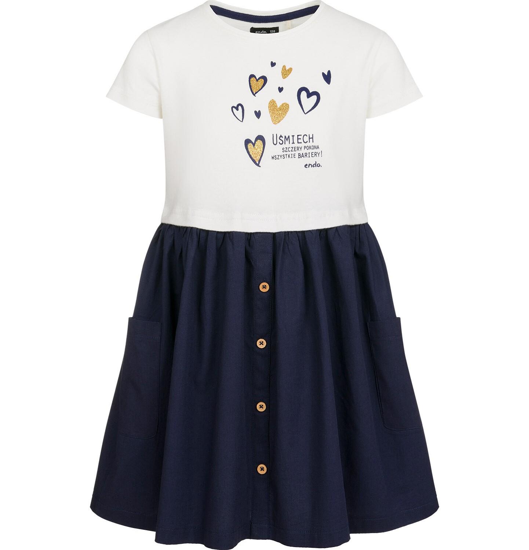 Endo - Sukienka z krótkim rękawem, z motywem w złote serduszka, granatowy dół, 2-8 lat D03H010_1