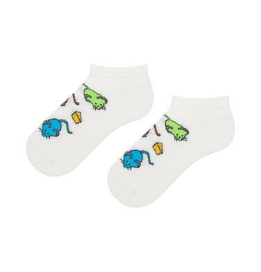 Endo - Kolorowe skarpetki stopki dziecięce w myszki D06P006_1 1