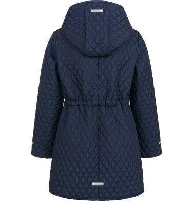 Endo - Przejściowy płaszcz z kapturem dla dziewczynki, pikowany, granatowy, 9-13 lat D03A513_1,2