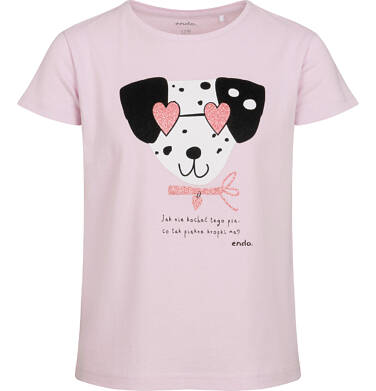 T-shirt z krótkim rękawem dla dziewczynki, z dalmatyńczykiem w okularach, różowy, 9-13 lat D05G178_2