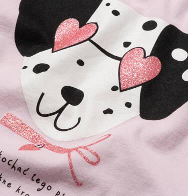 Endo - T-shirt z krótkim rękawem dla dziewczynki, z dalmatyńczykiem w okularach, różowy, 9-13 lat D05G178_2,2
