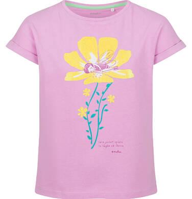 Endo - Bluzka z krótkim rękawem dla dziewczynki, z kwiatem, różowa, 9-13 lat D03G595_1 225