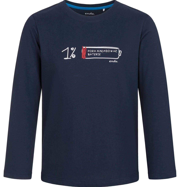 Endo - T-shirt z długim rękawem dla chłopca, z baterią, granatowy, 9-13 lat C03G699_1